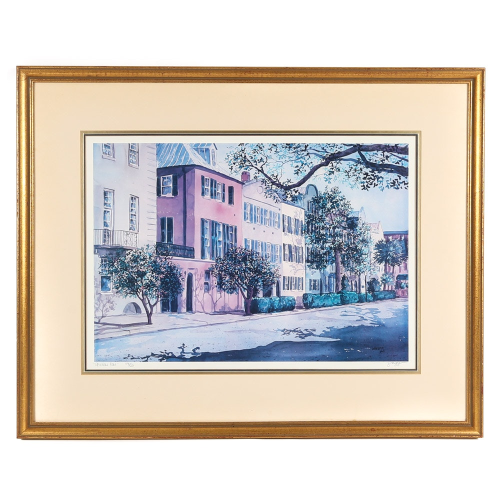 """George Griff Limited Edition Offset Lithograph """"Rainbow Row"""""""