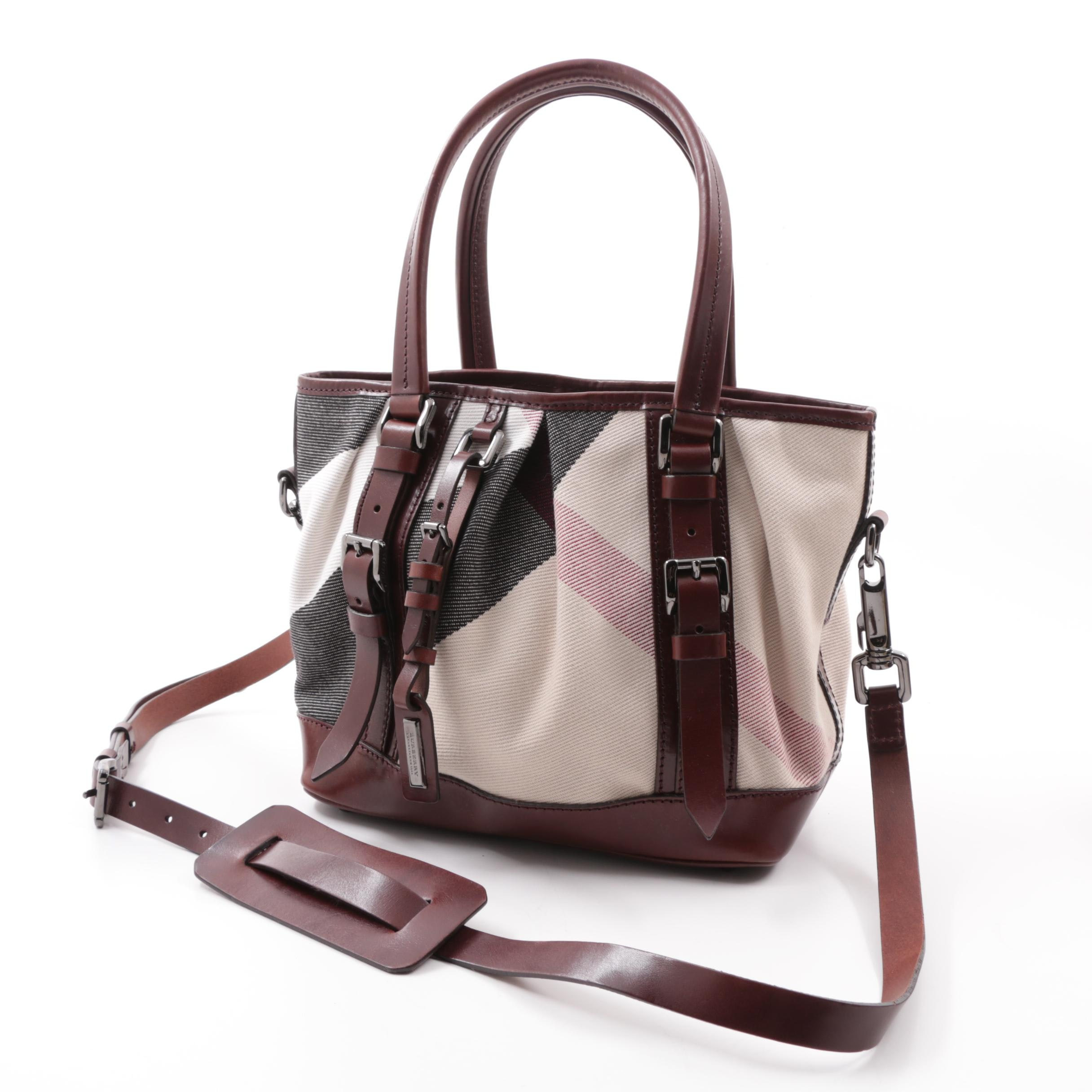 Burberry Check Canvas and Brown Leather Shoulder Bag