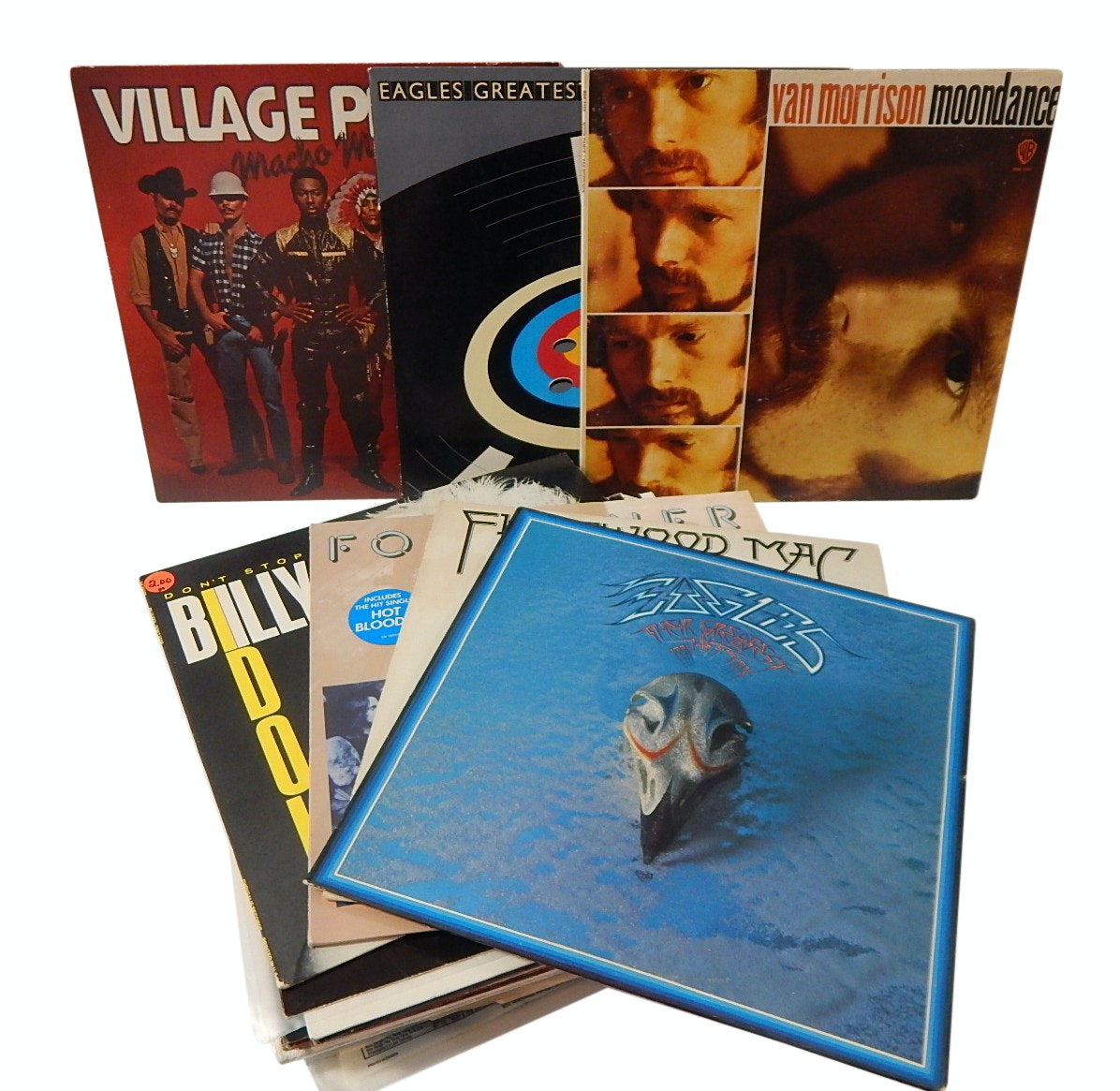 Vintage 33 RPM Record Album Collection with Classic Rock and Pop