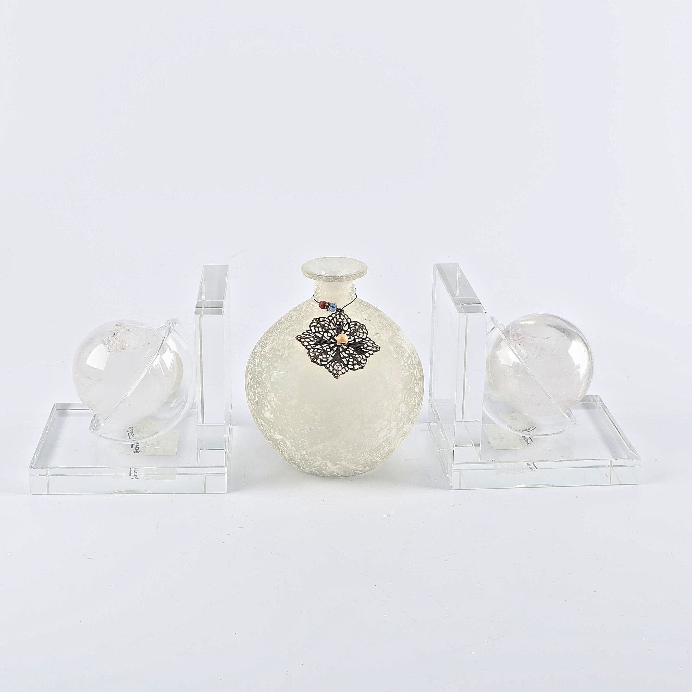 Dimond Home Glass and Rock Crystal Quartz Bookends with Frosted Glass Vase