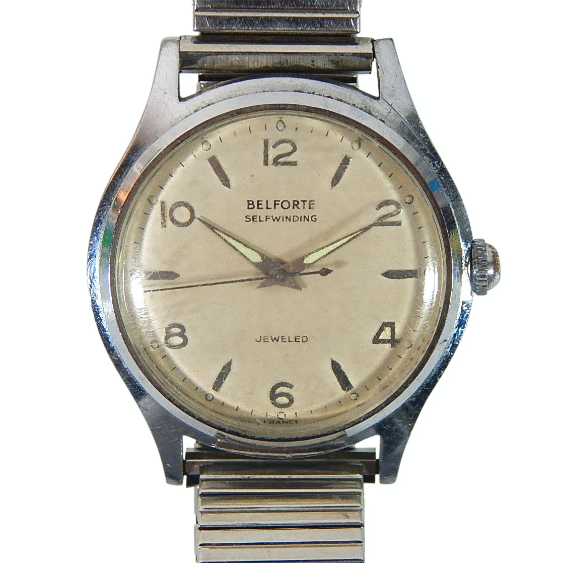 Vintage Belforte Self Winding France Silver-Tone Wristwatch