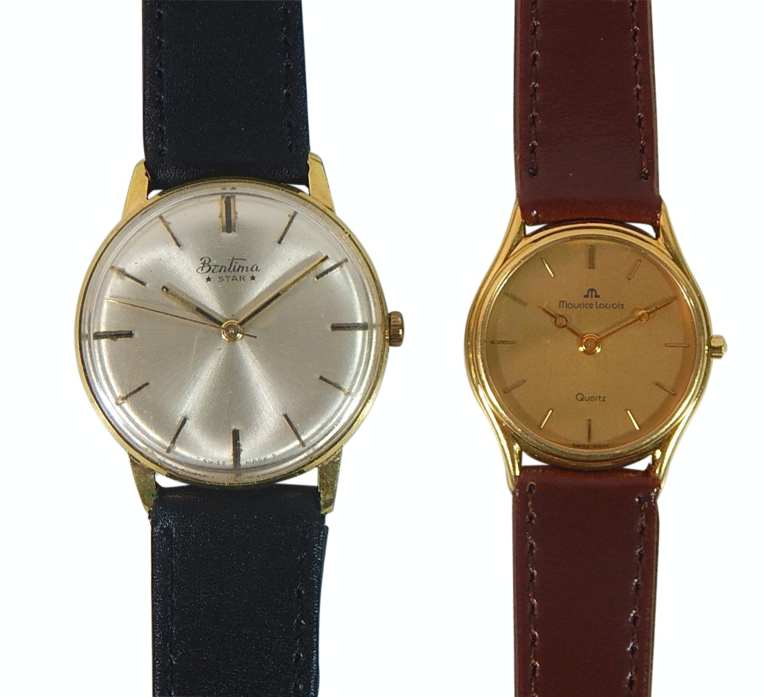 Vintage Bentima Star and Maurice Lacroix Gold-Tone Wristwatches