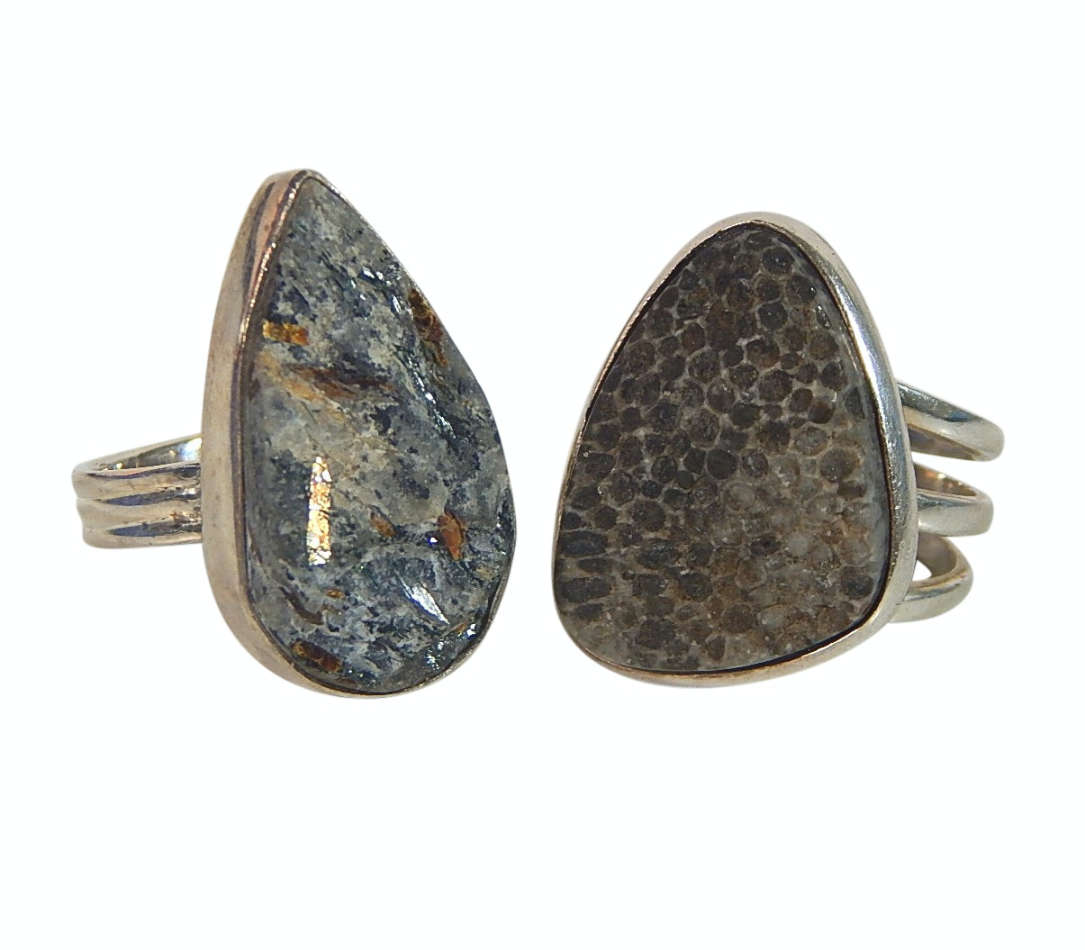 Two Sterling Silver Rings with Natural Stones