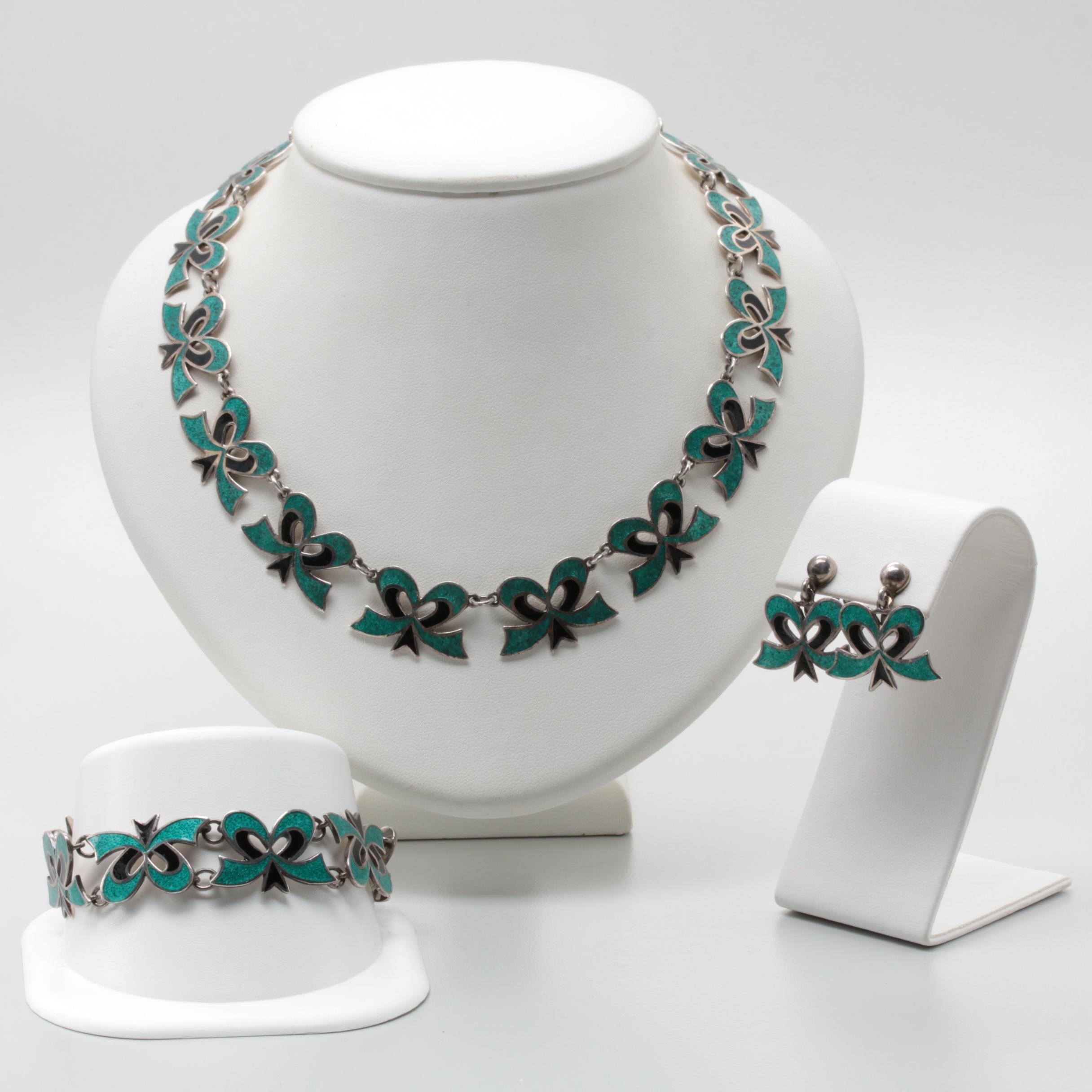 Mexican Sterling Silver Enamel Demi Parure
