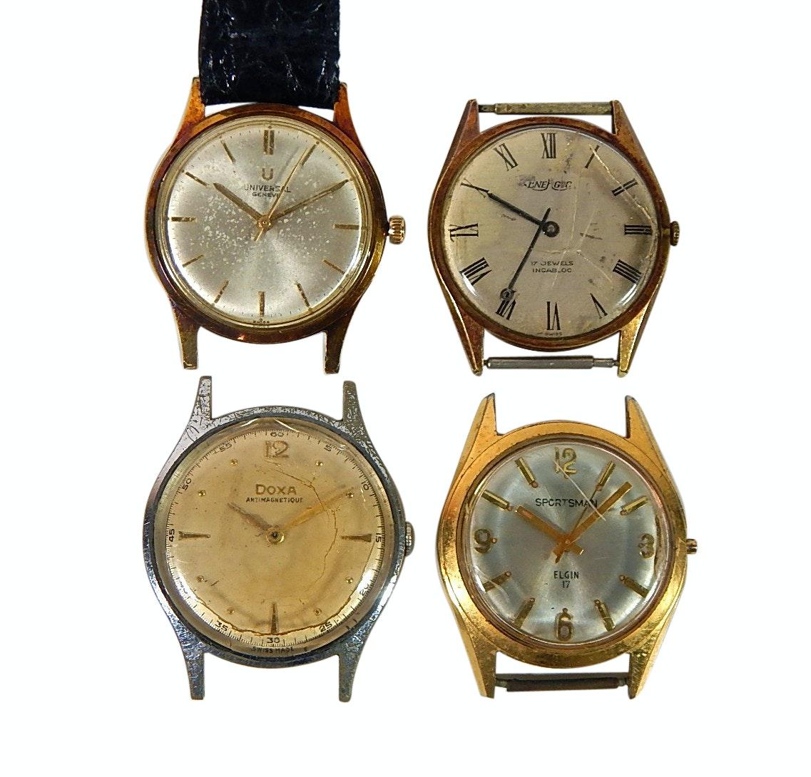 Four Piece Lot of Wristwatch Parts - Doxa, Sportsman Elgin
