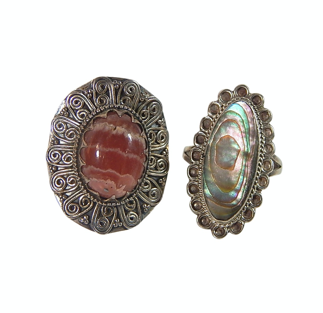 Two Sterling Silver Rings - Abalone and Red Striated