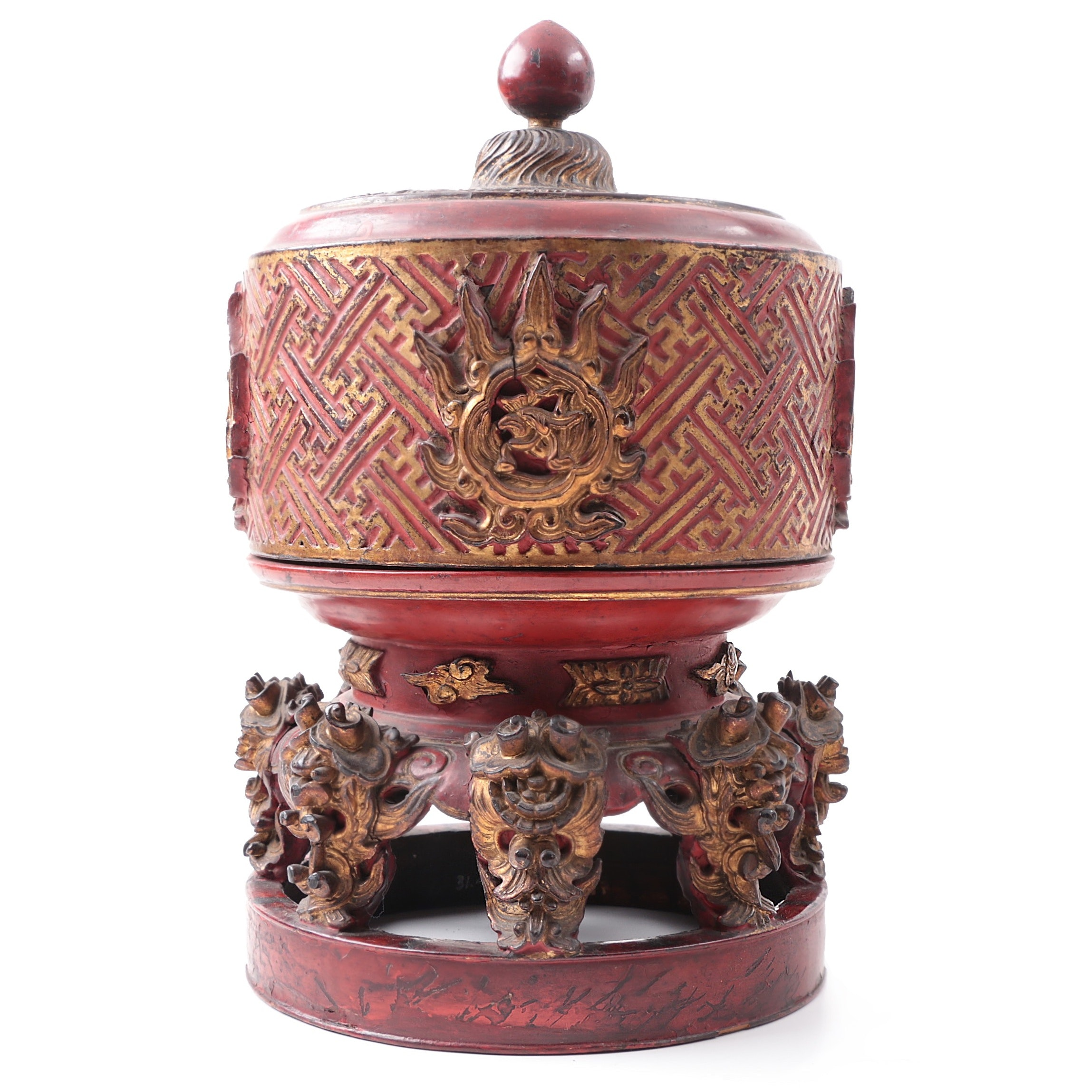 Circa 1900 Burmese Lacquered and Gilt Ceremonial Betel Box on Stand