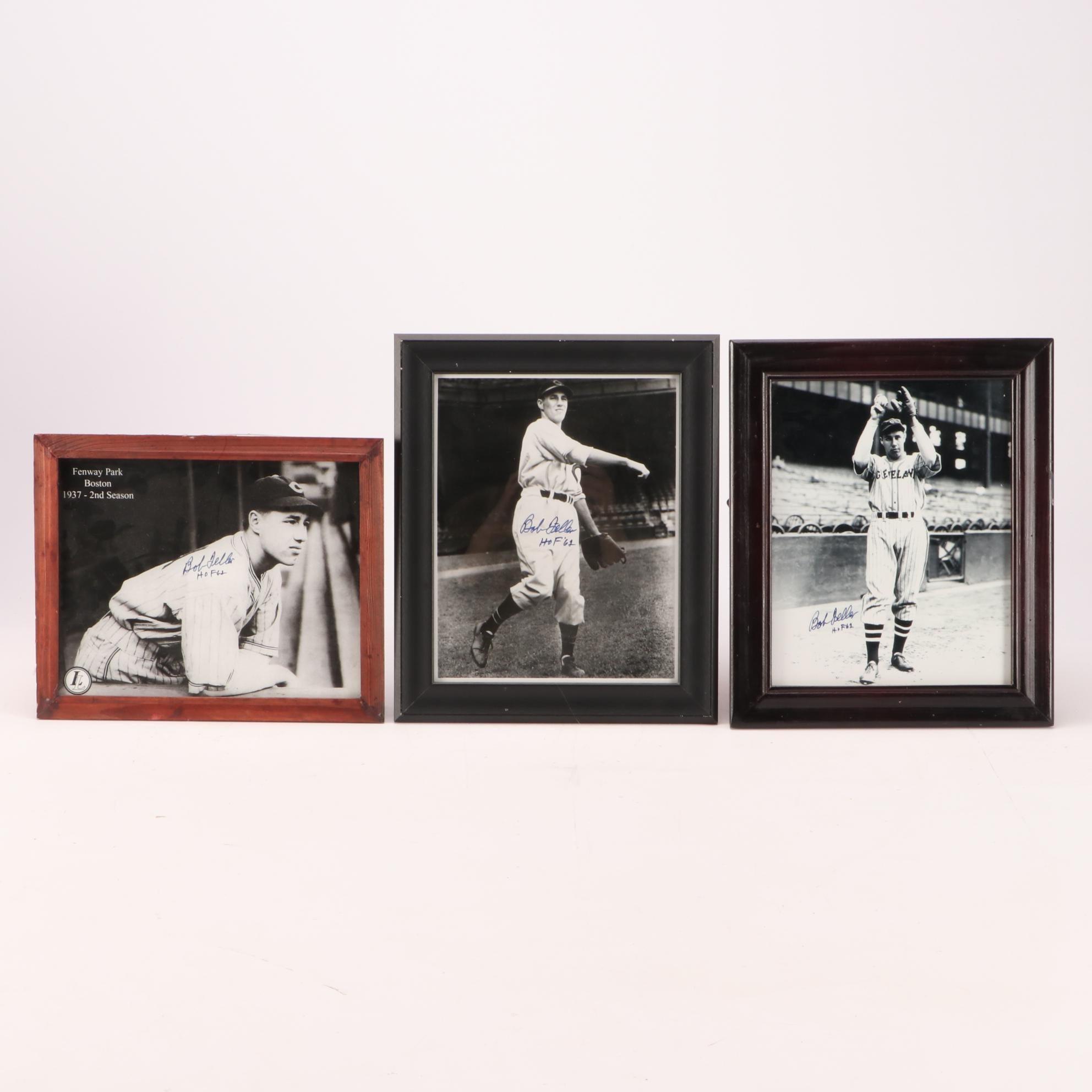 Three Autographed (HOF) Bob Feller Cleveland Indians Framed Photo Prints