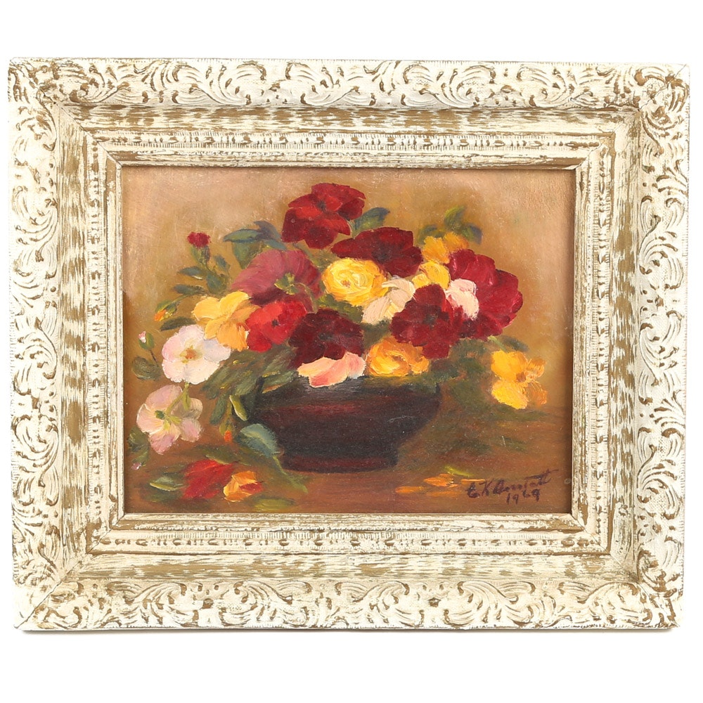"E.K. Anstatt Oil Painting Floral Still Life ""My Mother's Day Bouquet"""