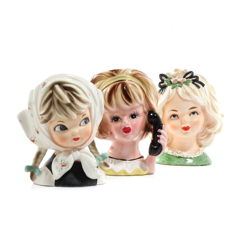 Young Girl Lady Head Vases