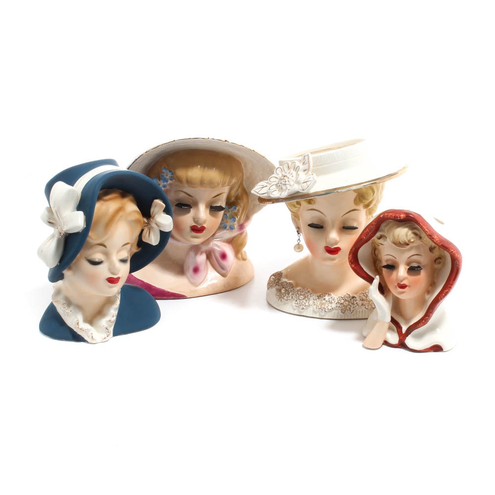 Vintage Lady Head Vases Including Inarco