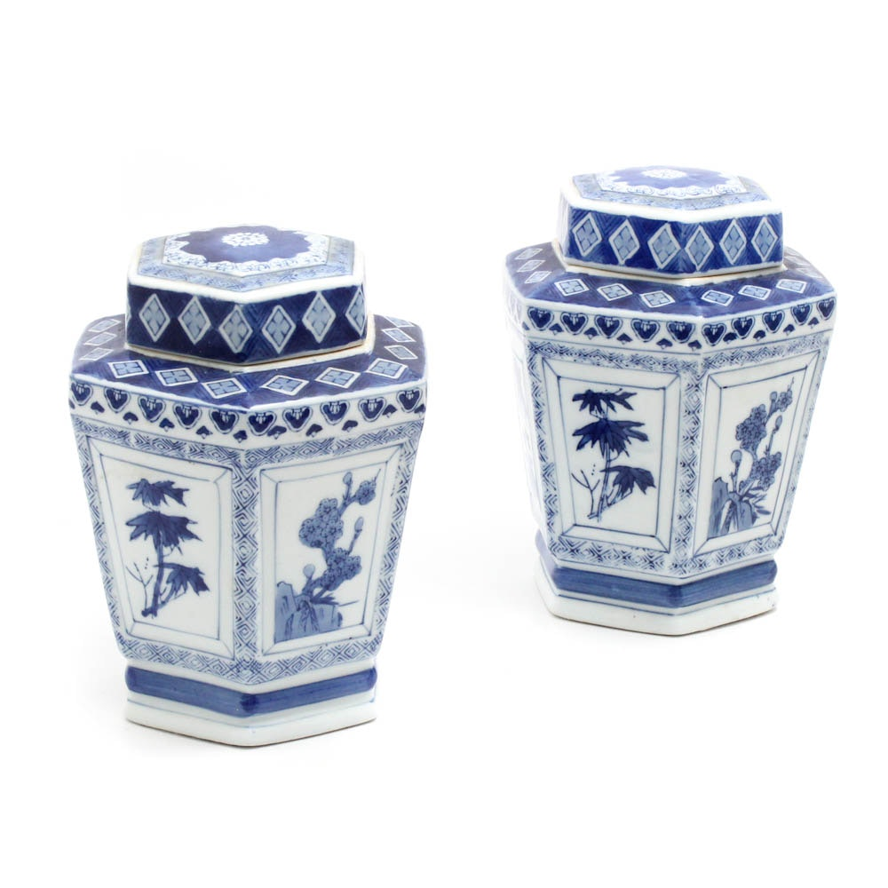 Chinese Blue and White Hexagonal Ginger Jars