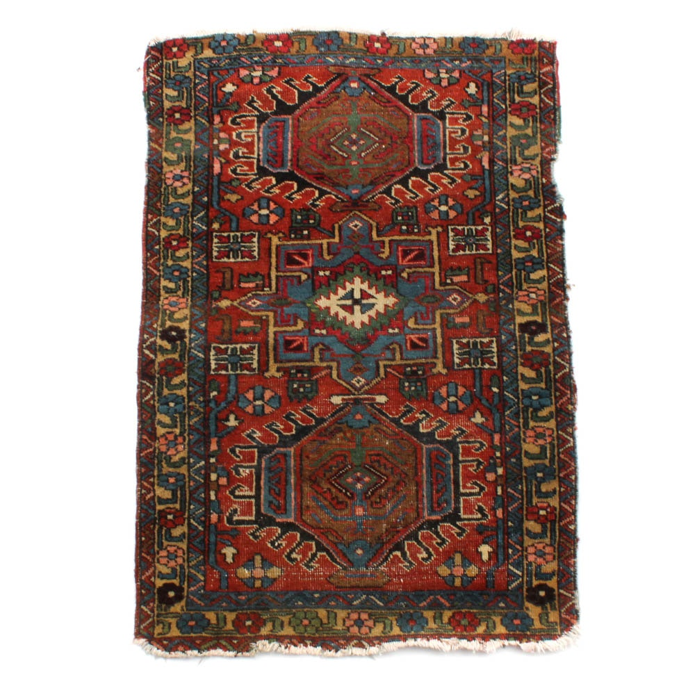 Antique Hand-Knotted Persian Lamberan Accent Rug