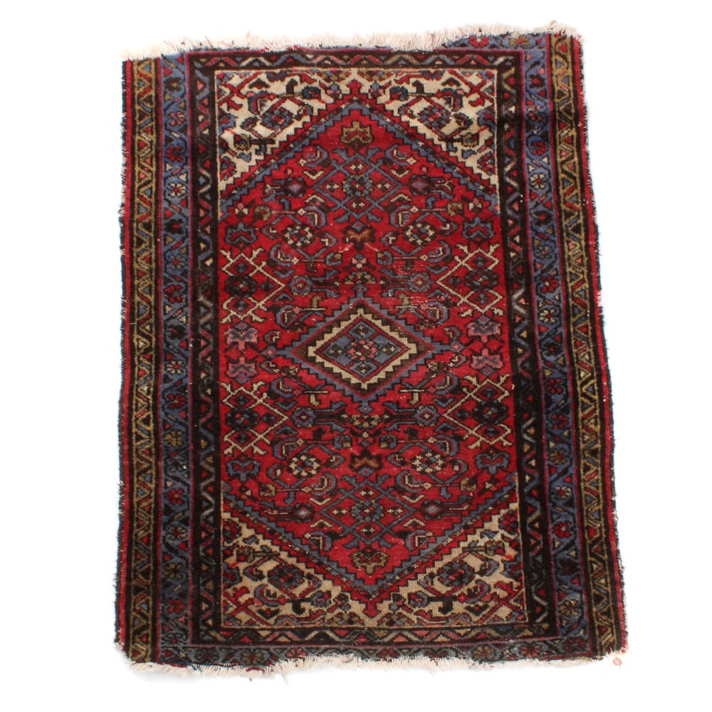 Antique Hand-Knotted Persian Accent Rug