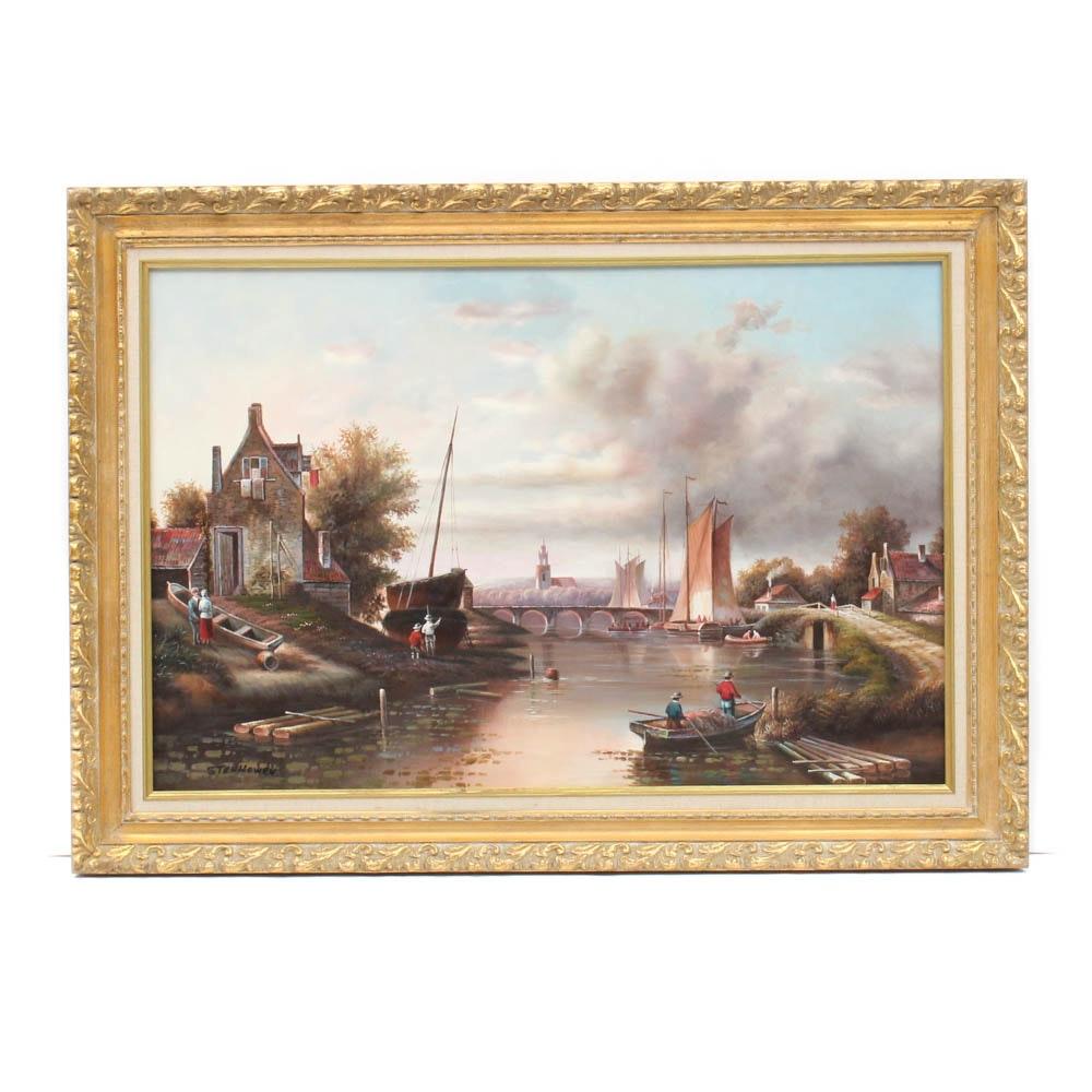 Stenhowen River Scene Oil Painting