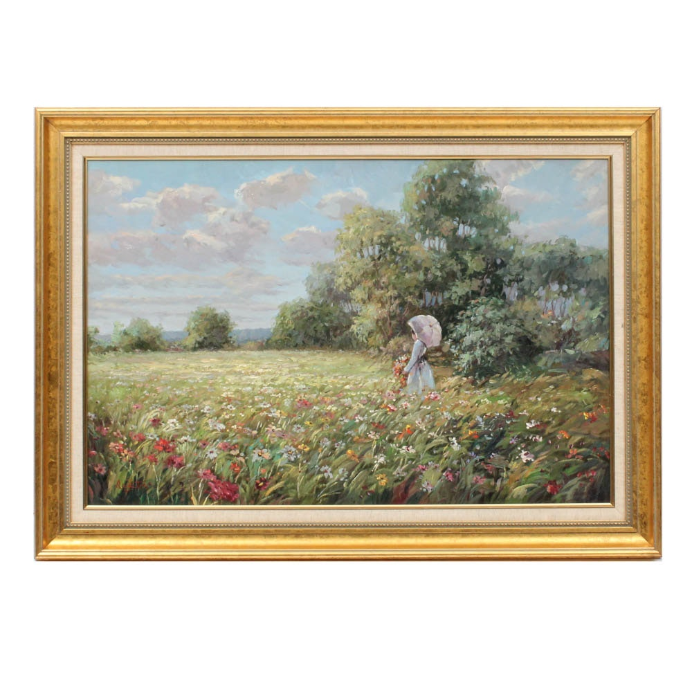 Champeaux Austin Impressionist Style Landscape Oil Painting