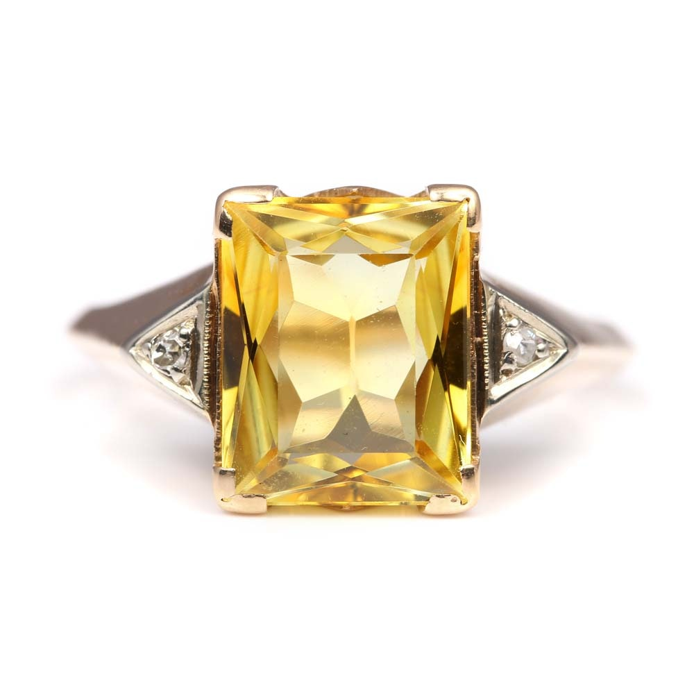 Vintage 10K Yellow Gold 2.94 CT Synthetic Sapphire and Diamond Ring
