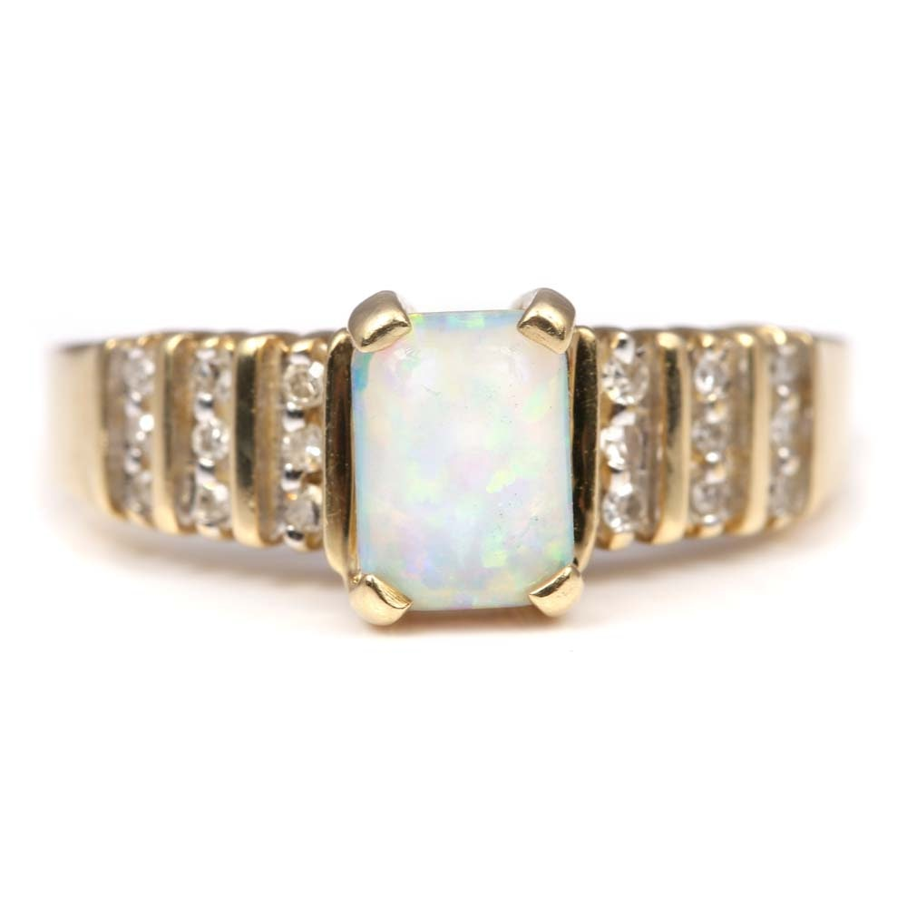 10K Yellow Gold Synthetic Opal and Diamond Ring