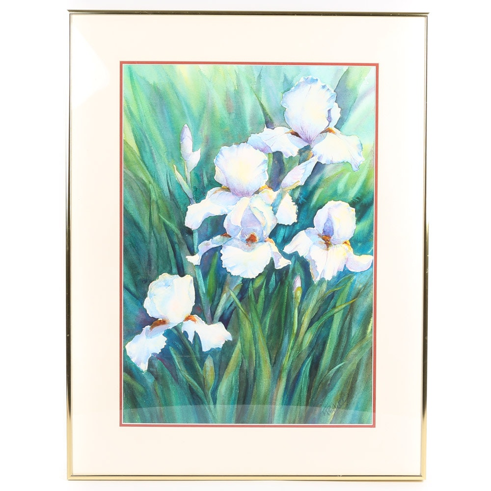 F. Philips Watercolor Painting of Bearded Iris
