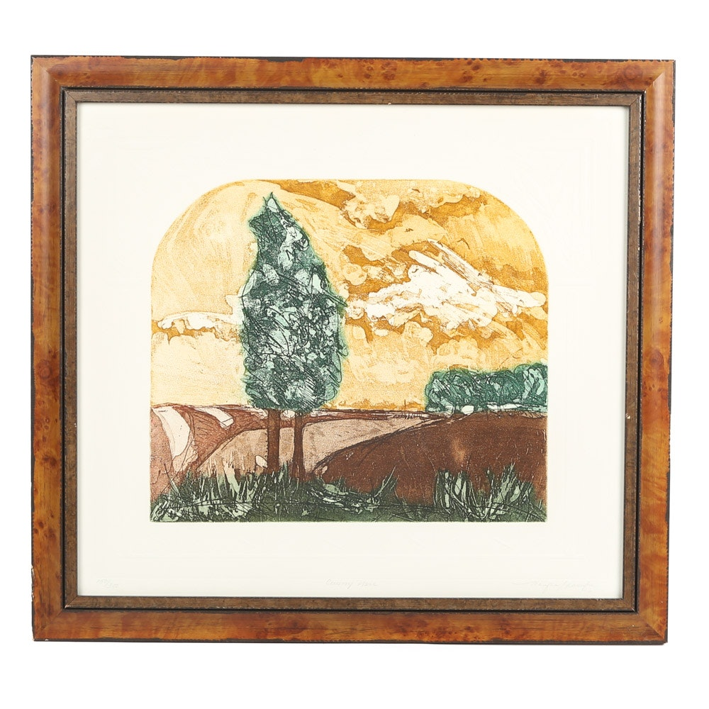 """Jennifer Berringer Embossed Lithograph """"Country Place"""""""