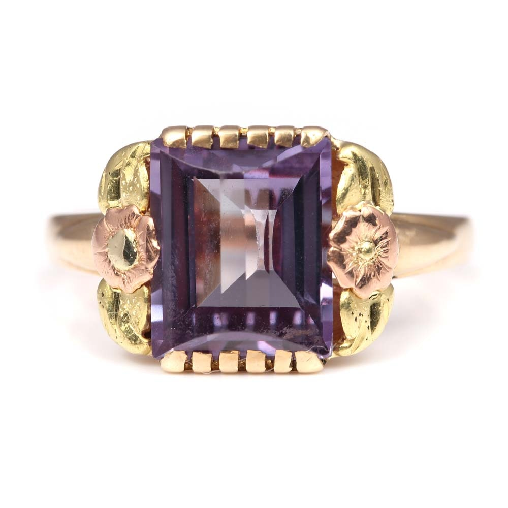 Vintage10K Yellow Gold 4.00 CT Synthetic Color Change Sapphire Ring