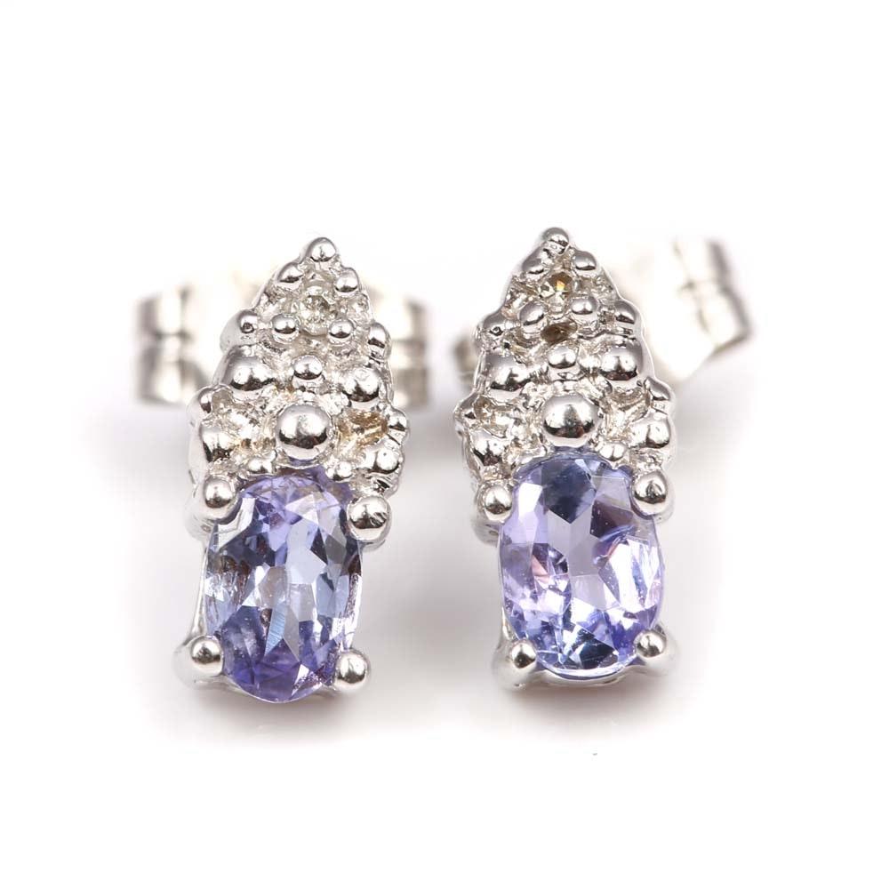 10K White Gold Tanzanite and Diamond Earrings