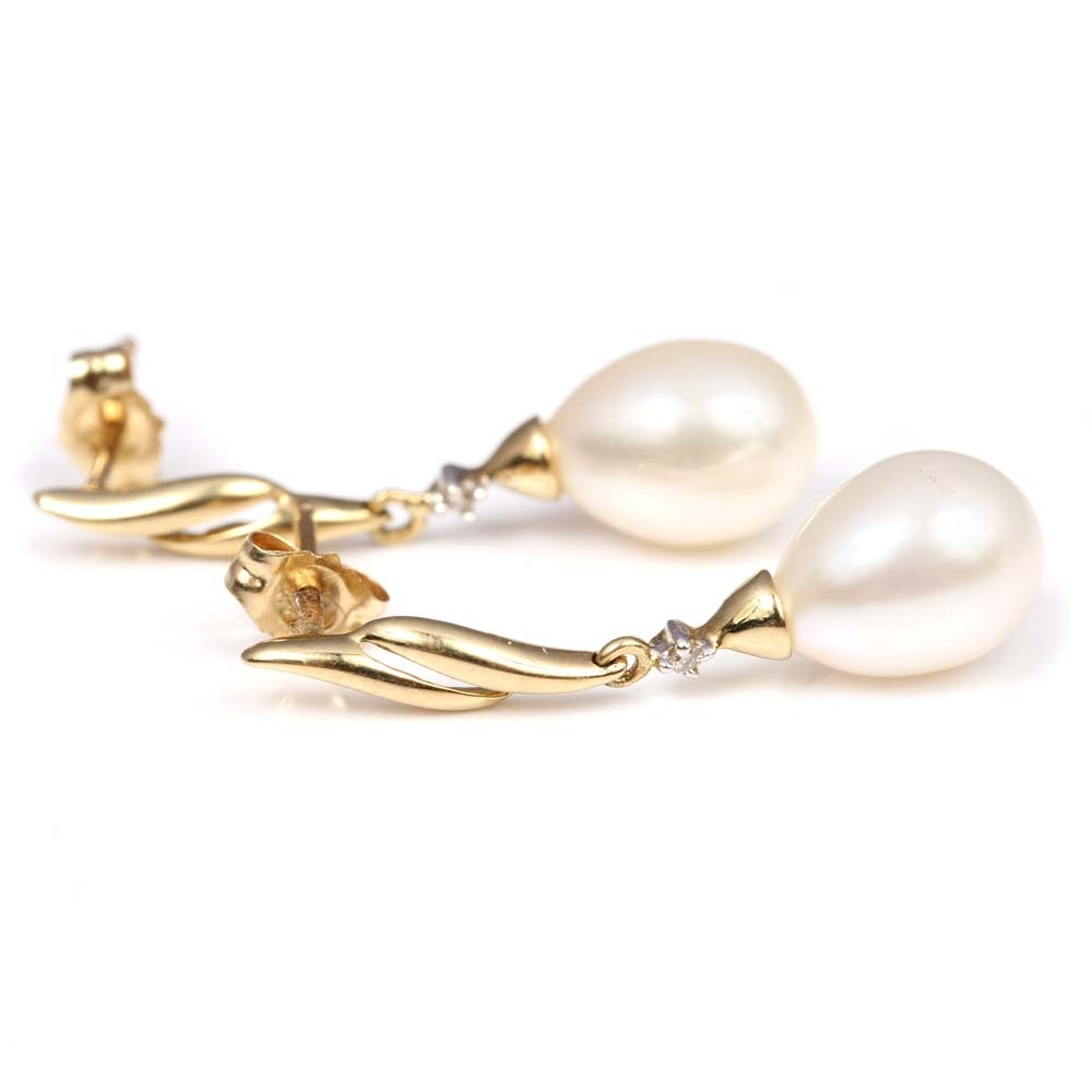 10K Yellow Gold Cultured Pearl and Diamond Earrings