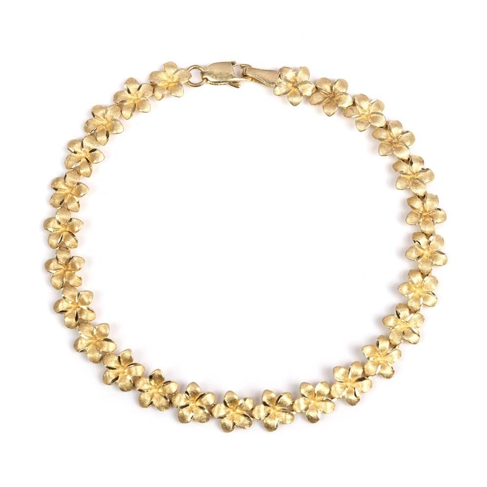 14K Yellow Gold Flower Bracelet