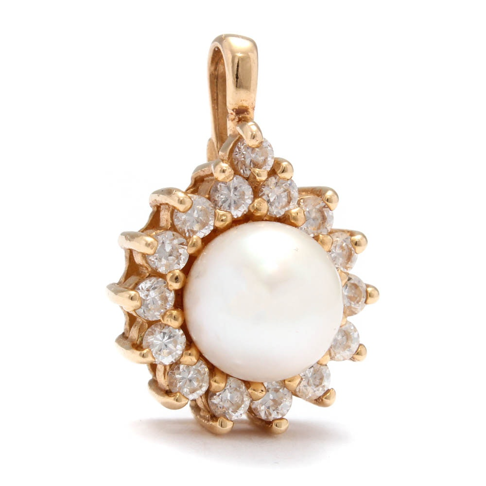 14K Yellow Gold Cultured Pearl Cubic Zirconia Pendant