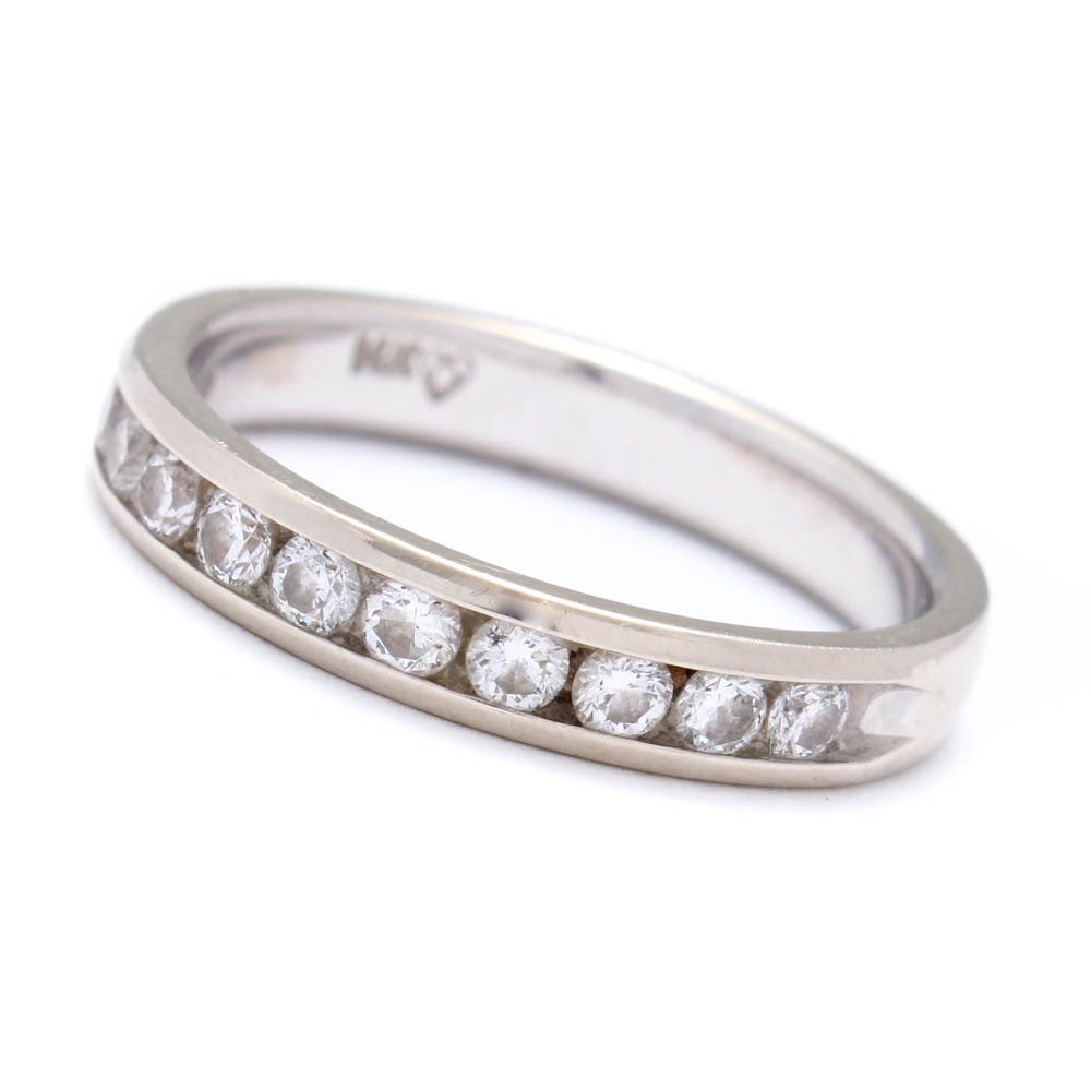 14K White Gold Half Circle Channel Set Diamond Eternity Ring