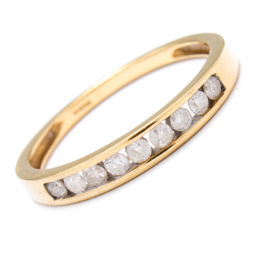 10K Yellow Gold Channel Set Diamond Ring