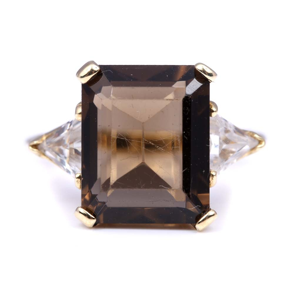 10K Yellow Gold Smoky Quartz and Cubic Zirconia Ring