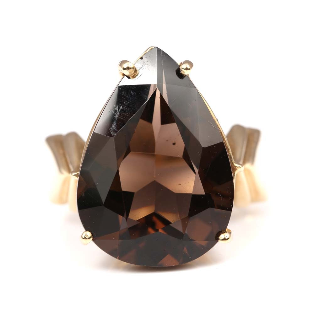 10K Yellow Gold 10.08 CT Smoky Quartz Ring