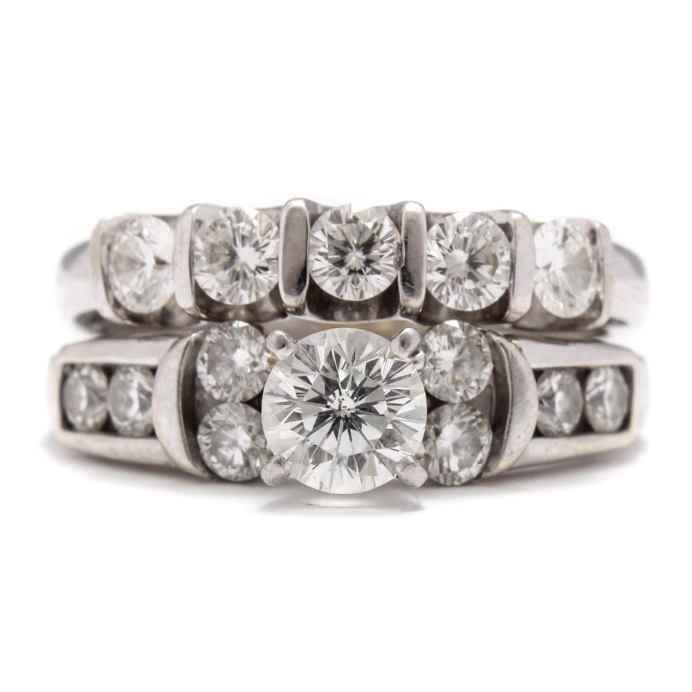 """The Leo"" 14K White Gold and Platinum 1.76 CTW Diamond Wedding Ring Set"