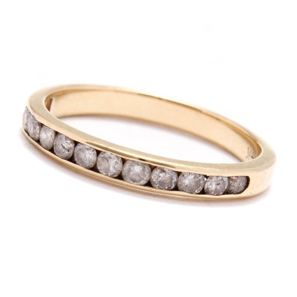 14K Yellow Gold Channel Set Diamond Band Ring