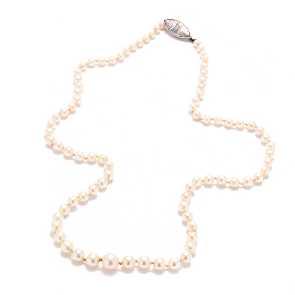 Cultured Pearl Necklace With 14K Gold Clasp