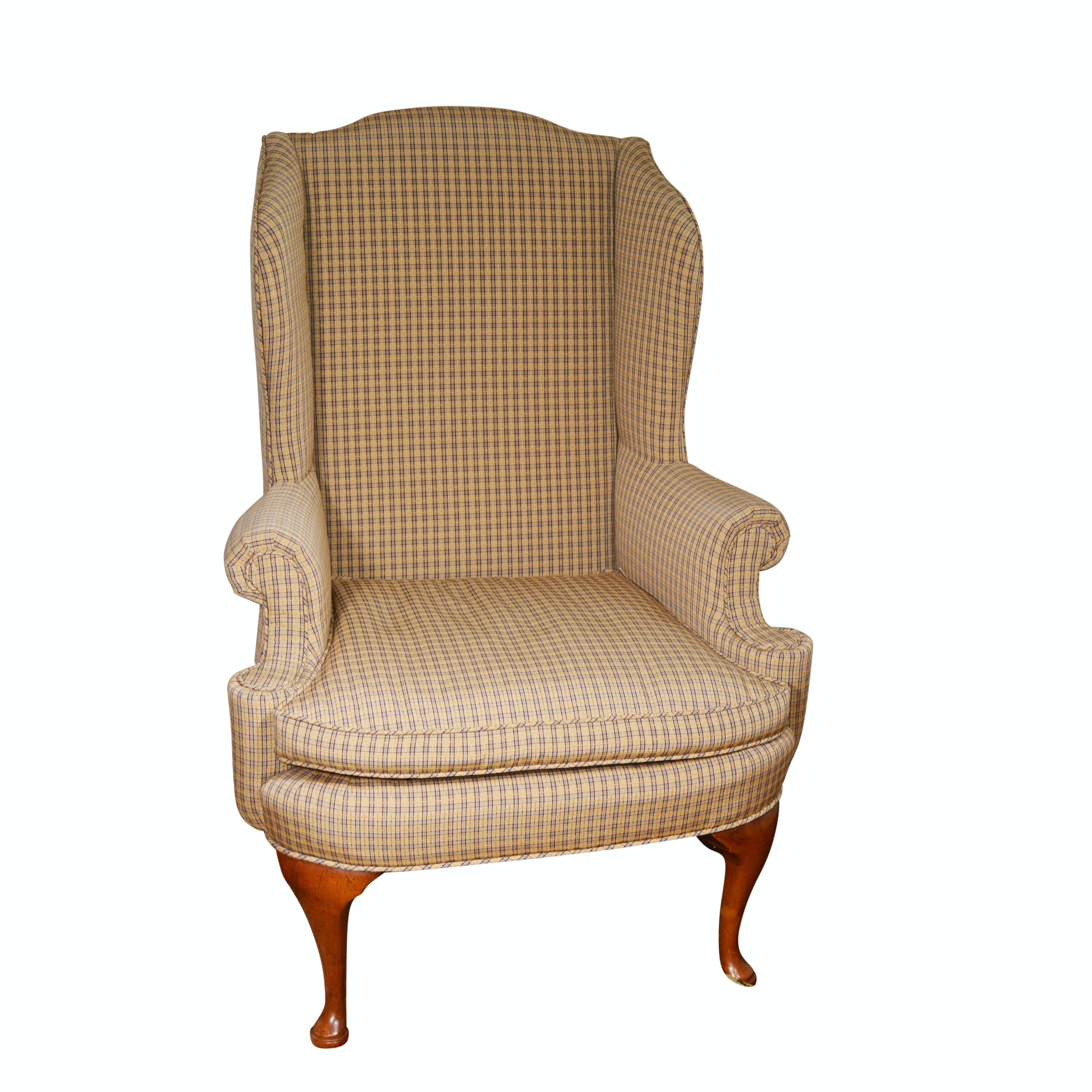 Queen Anne Style Upholstered Wing Chair, 20th Century