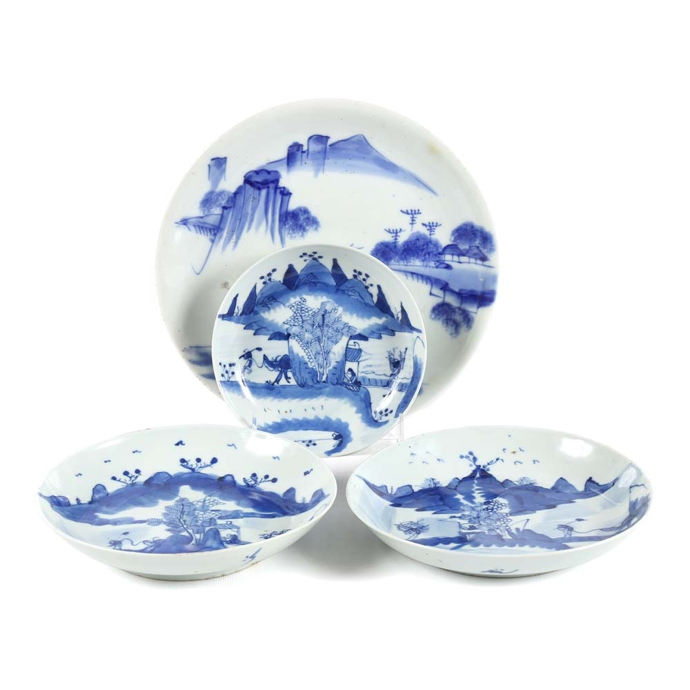 Collection of Japanese Meiji Period Blue and White Porcelain Plates