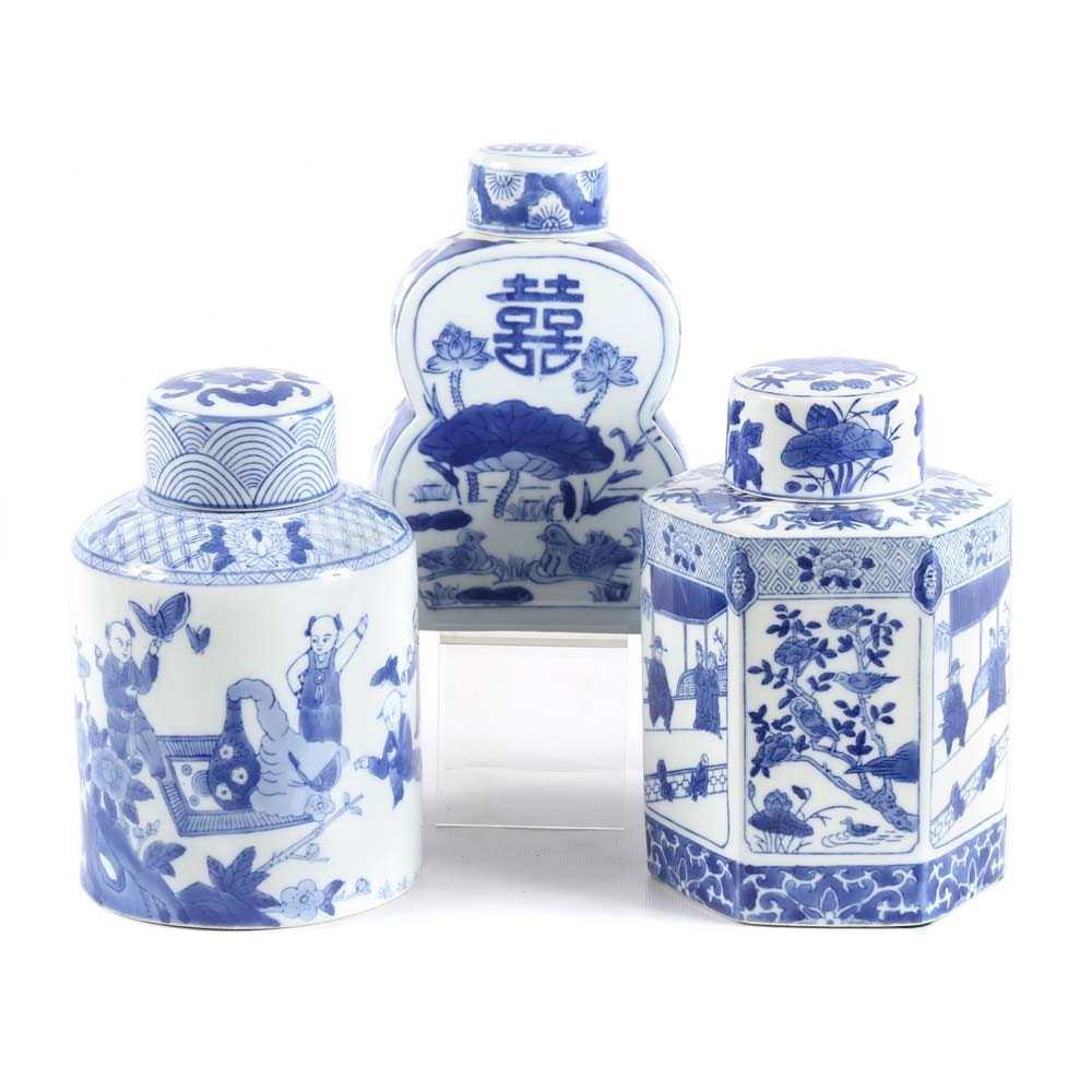 Contemporary Chinese Blue and White Tea Caddies