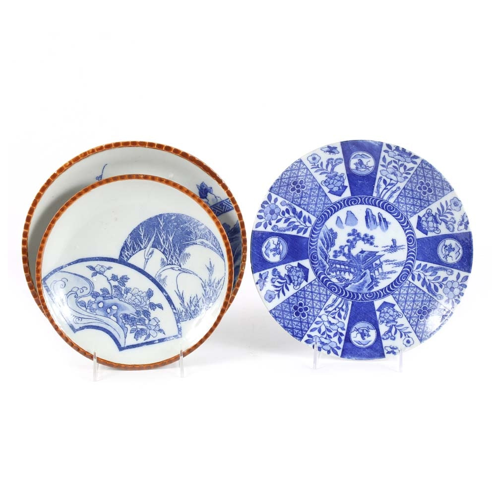 Japanese Meiji Period Blue and White Plates