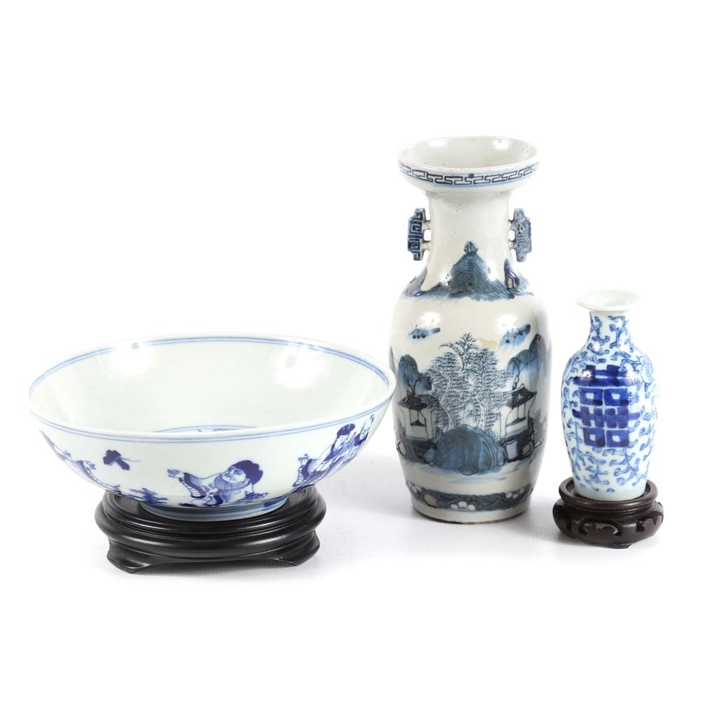 Antique Chinese Blue and White Decorated Export Vases and Bowl