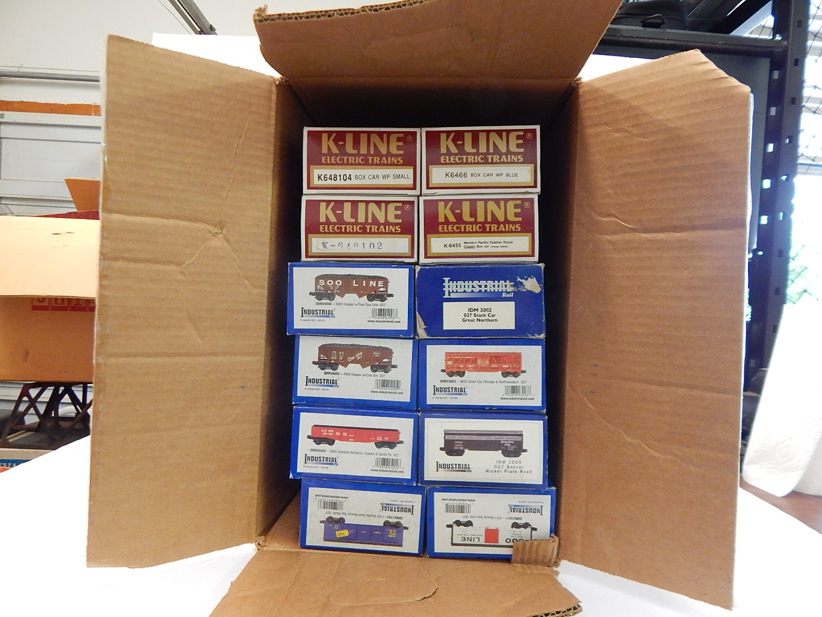 Twelve Train Cars with Industrial and K-Line O-Gauge with Boxes