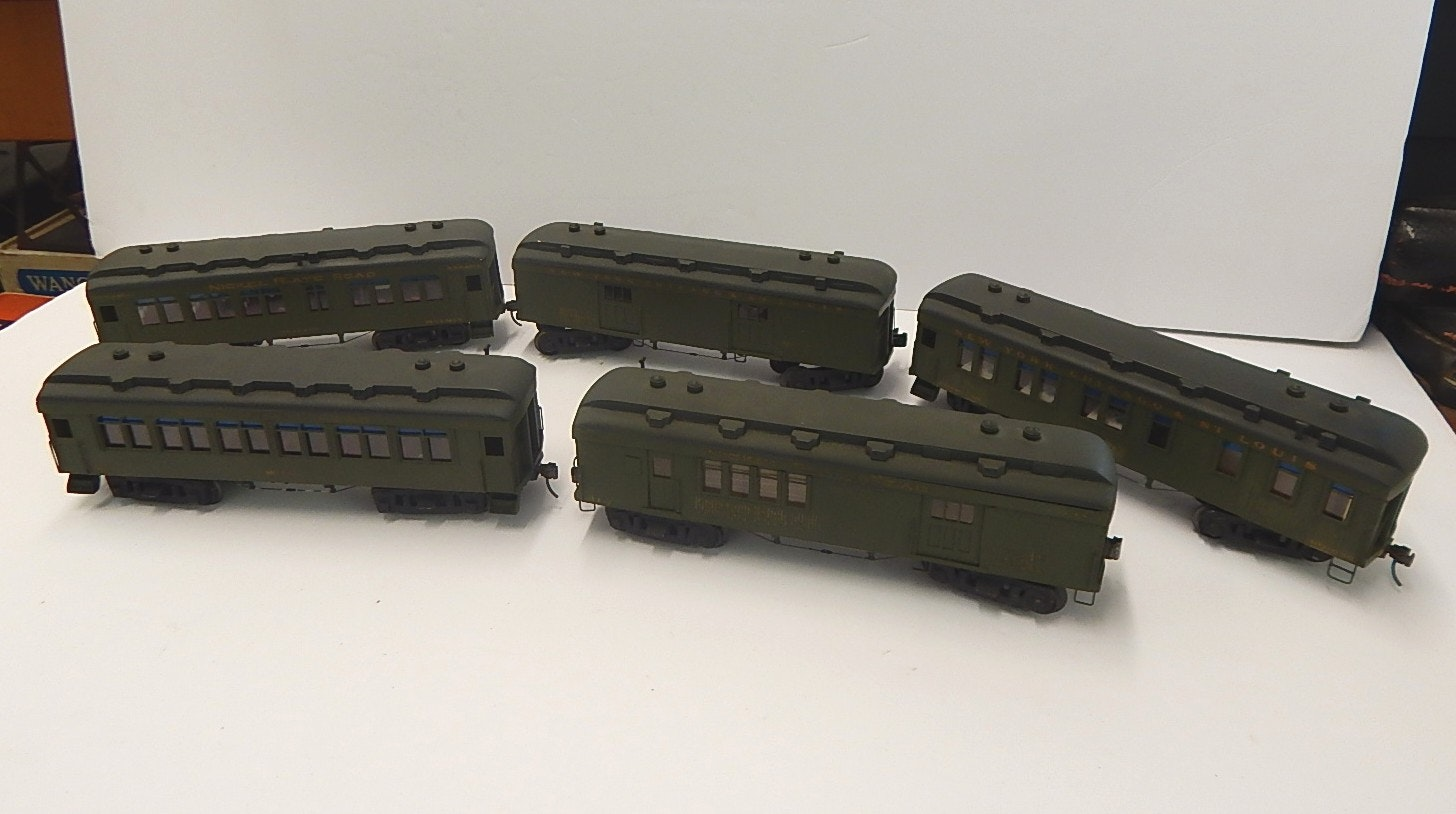 Vintage Green Passenger Train Cars with Kadee Couplers