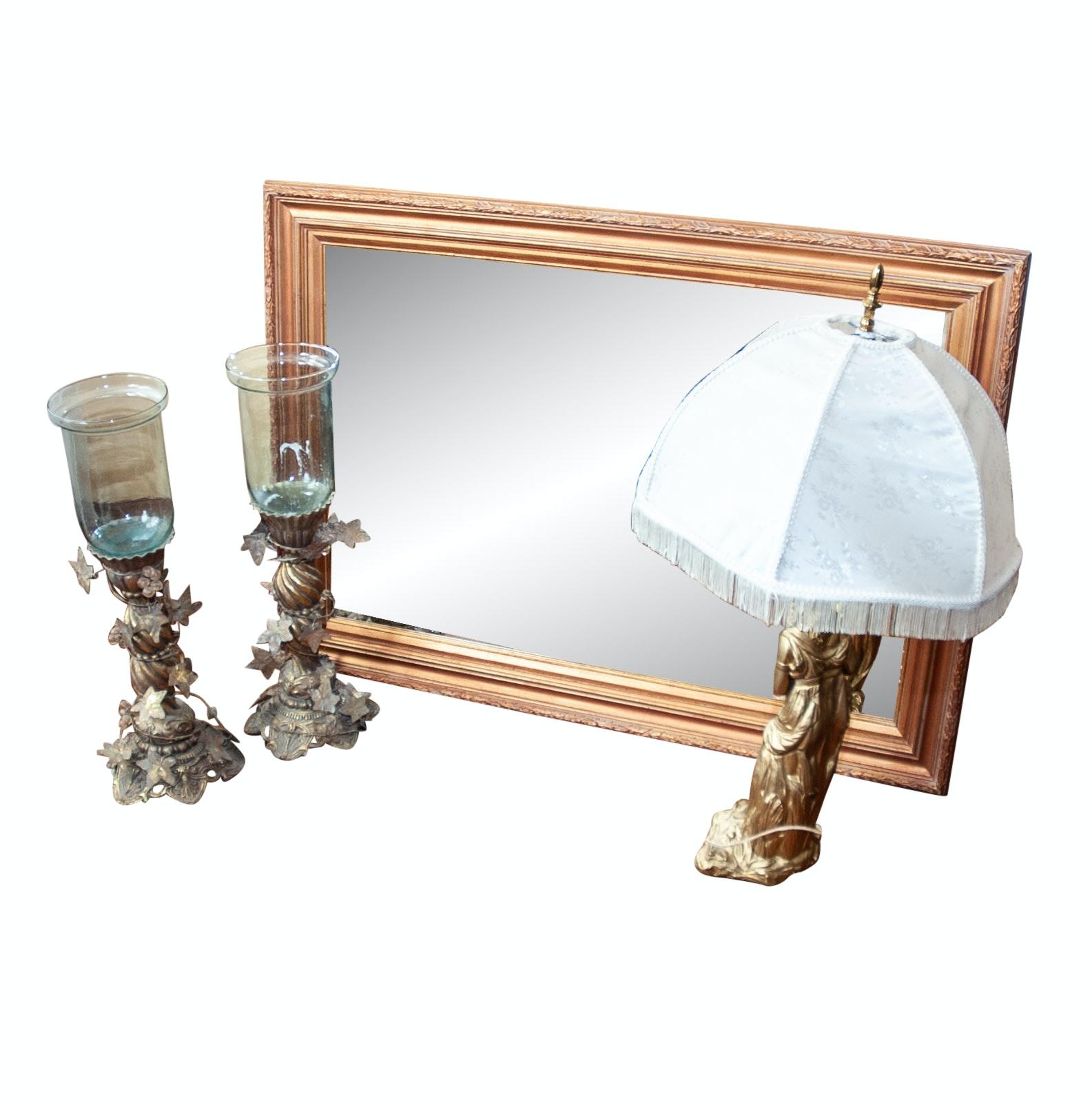 Decor Assortment Including Gilt Mirror