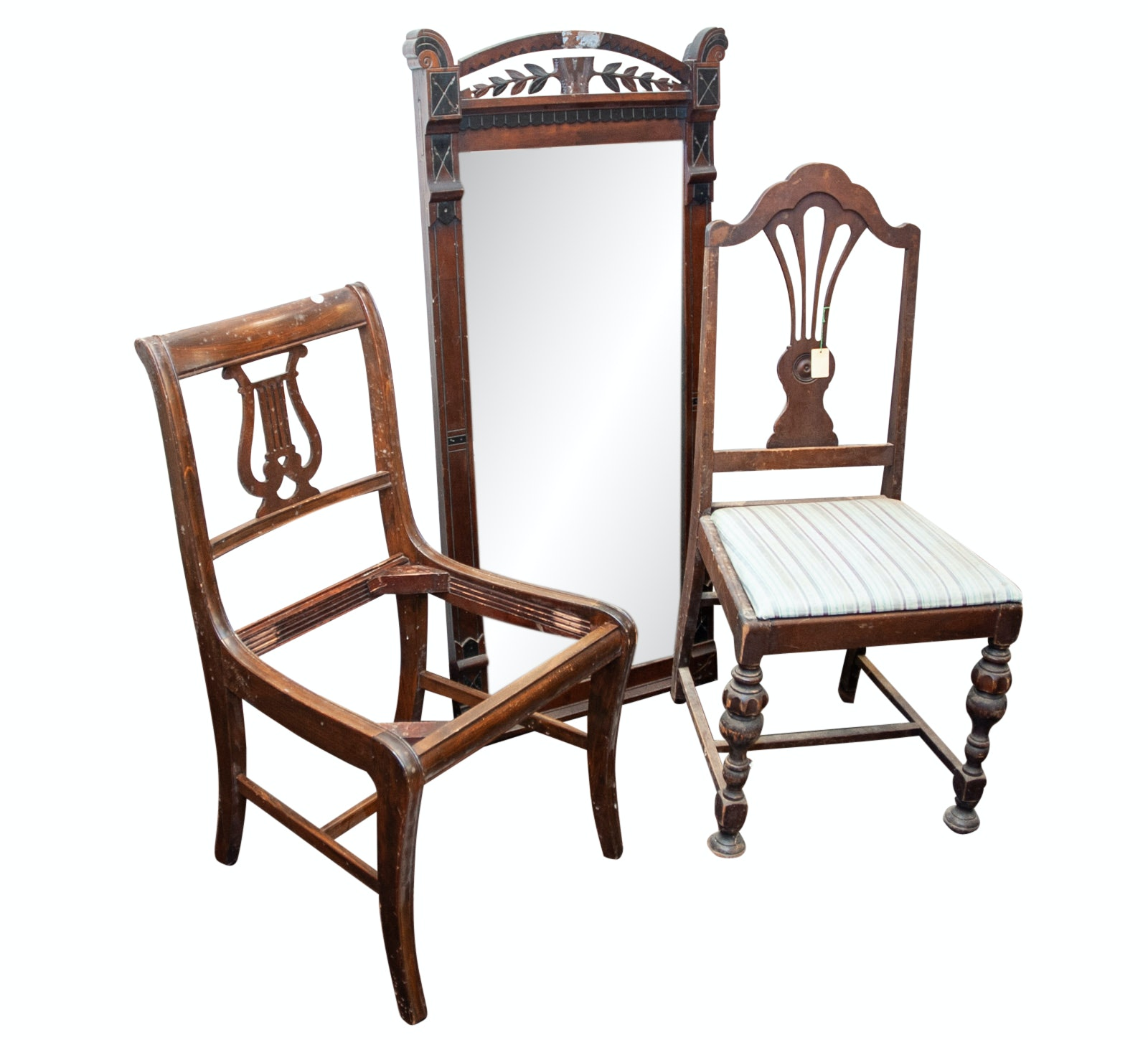 Vintage Chairs and Carved Wood Mirror