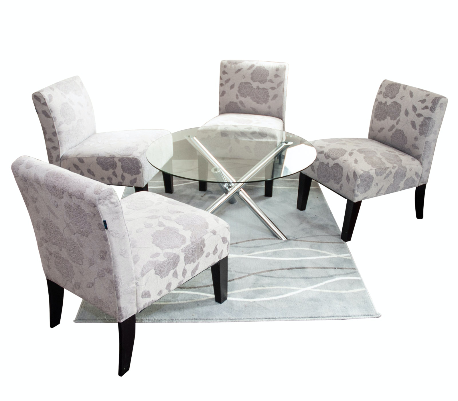 Contemporary Glass Coffee Table, Rug and Chair Set