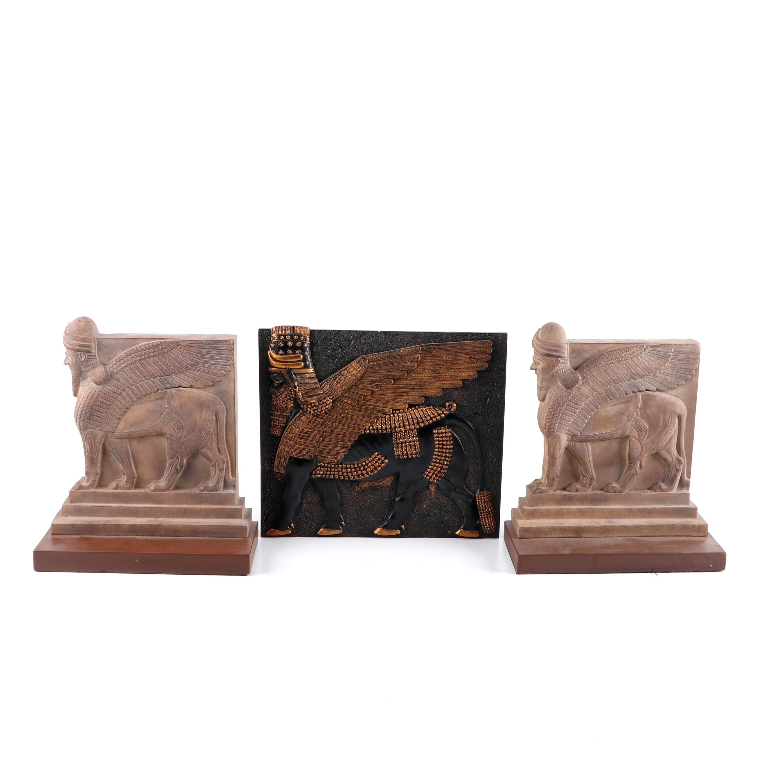 Design Toscano Lamassu Wall Hanging with Cast Resin Lamassu Bookends