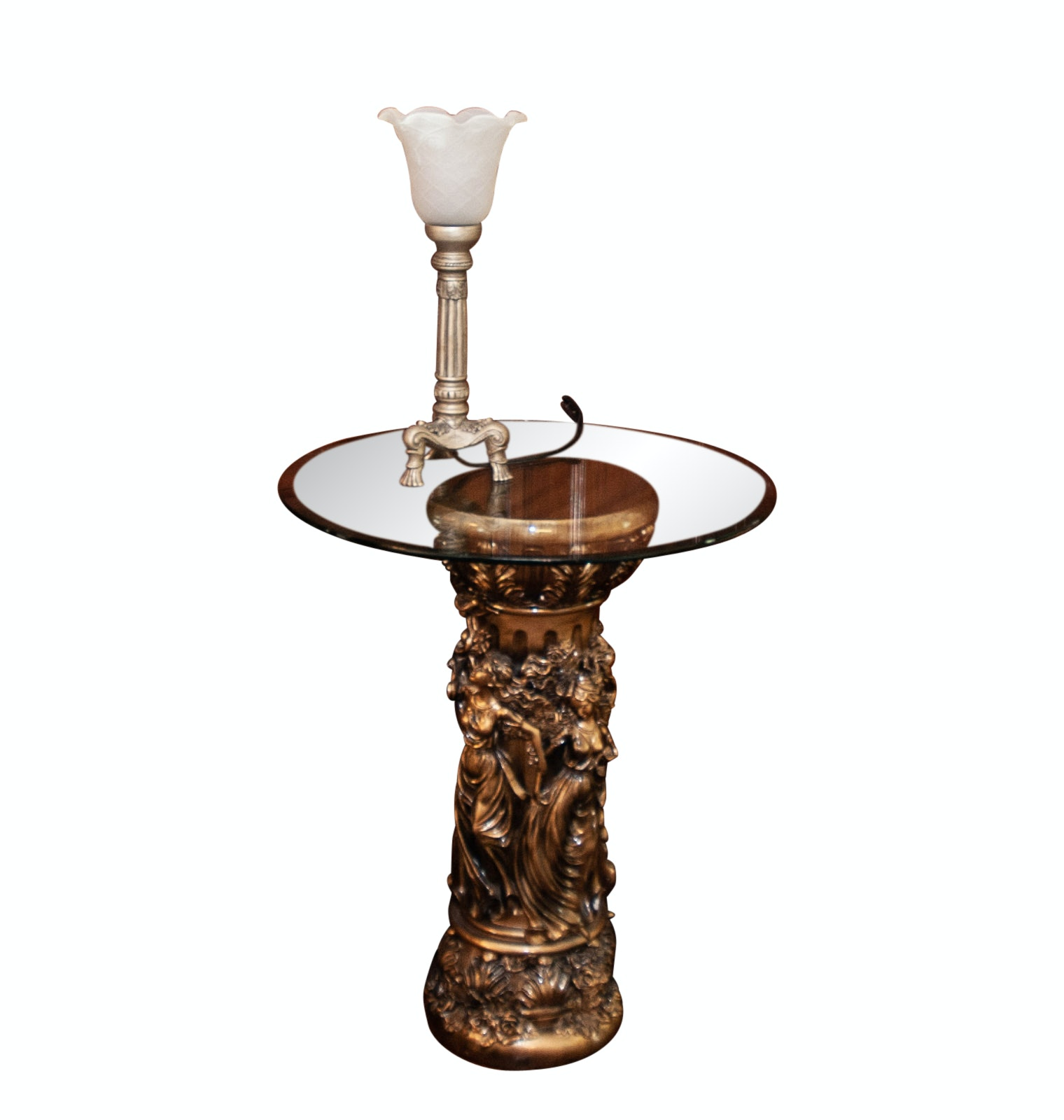 Glass Top Accent Table with Molded Base and Lamp