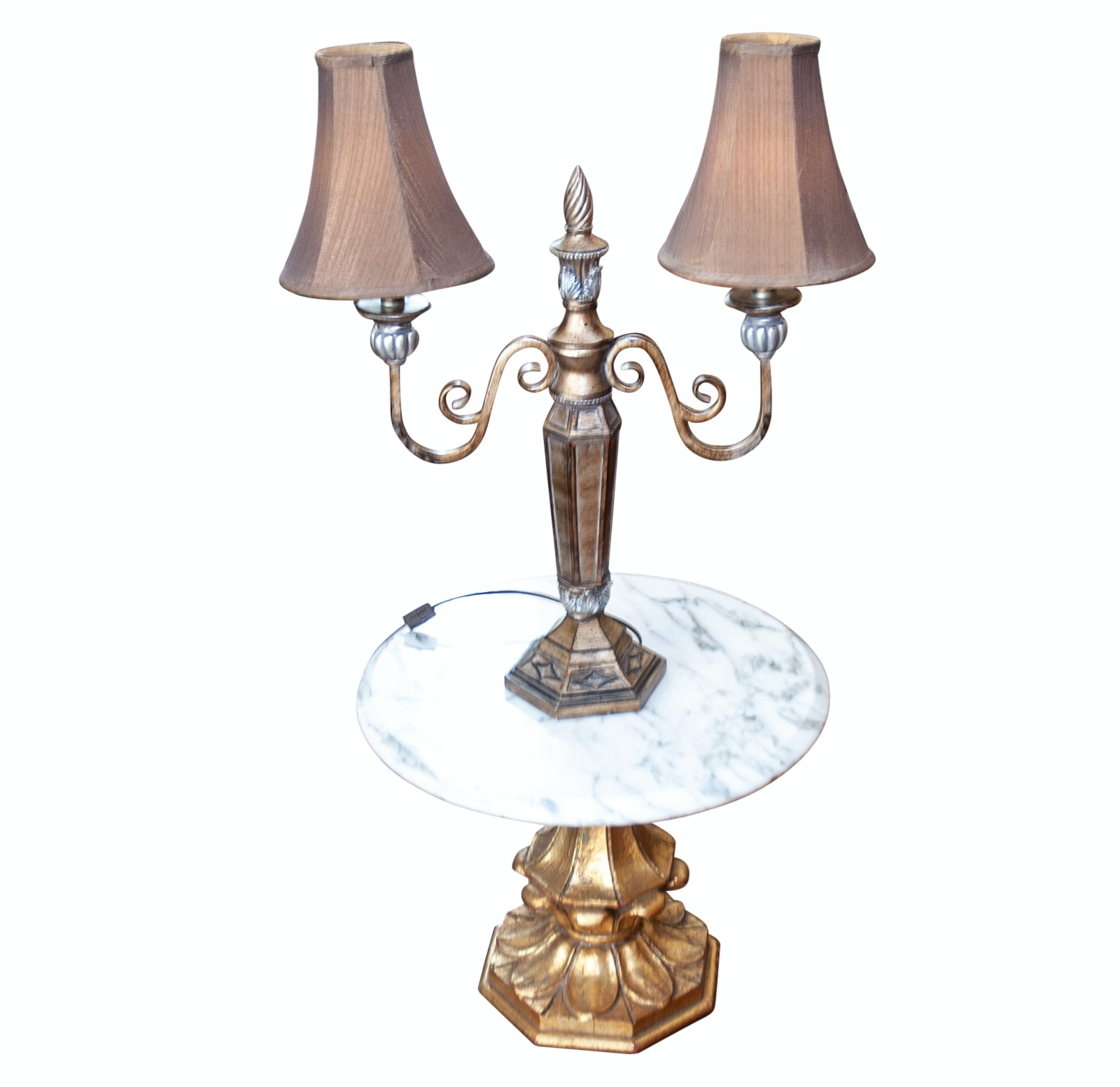 Marble Top Table and Double Socket Lamp with Shades
