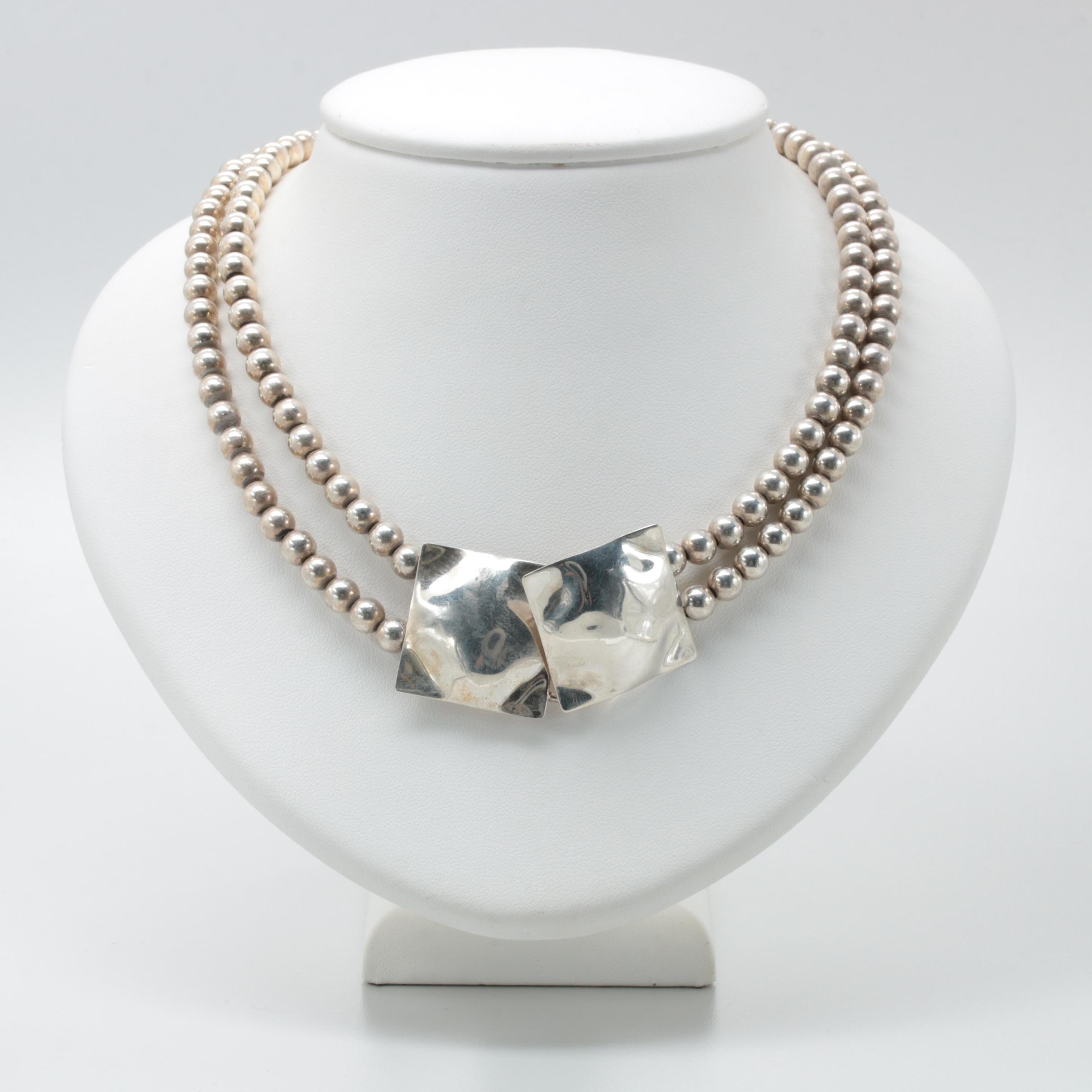 Sterling Silver Beaded Double Strand Necklace